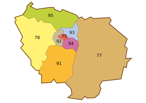 carte ile de france departement numero