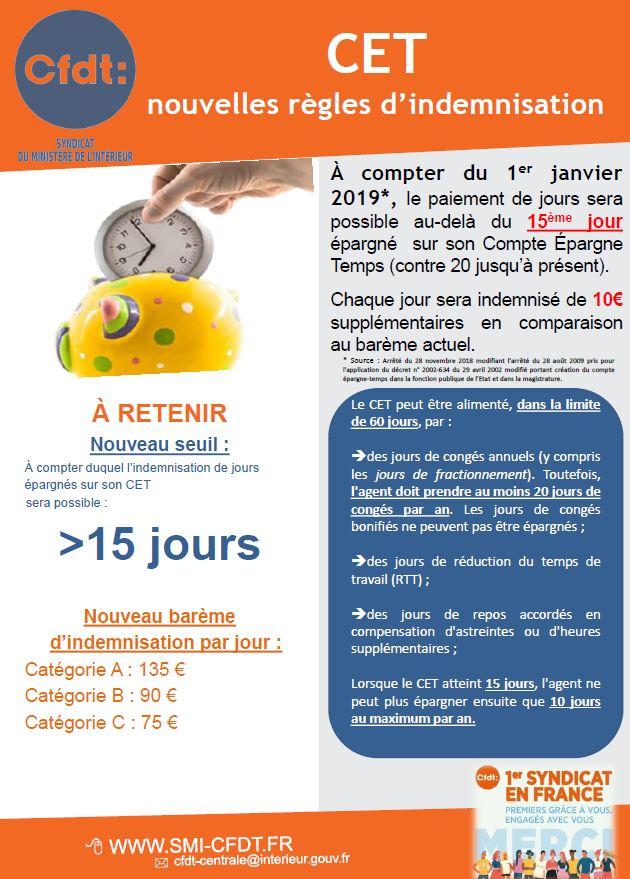 ebde6815618 Revalorisation des jours CET monétisés pour 2019 (arrêté du 28 novembre  2018)